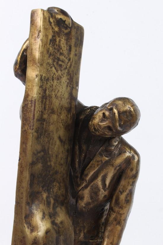 SAGEN SET FRA 2 SIDER - ægte bronze.       Stor udgave