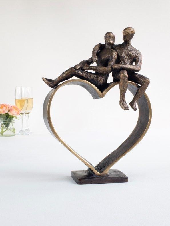 HJERTER MØDES - ægte bronze