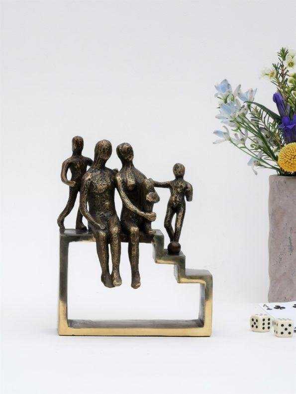 MIN FAMILIE med 2 børn - ægte bronze