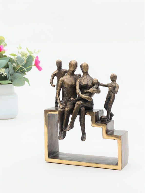MIN FAMILIE med 3 børn - ægte bronze